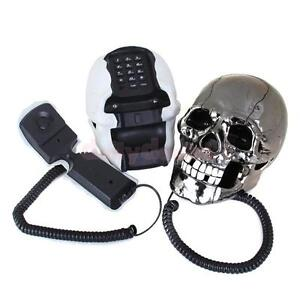 Novelty-Skull-Skeleton-Shaped-Corded-Home-Desk-Telephone-Phone-Eyes-Random-Color