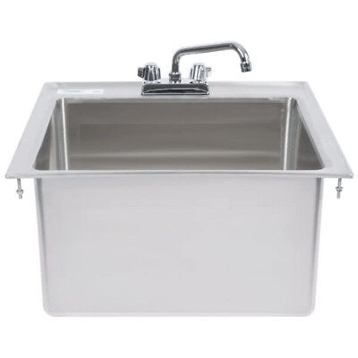 One Compartment W Faucet 20 X 16 X 12 Stainless Steel Drop In Sink Commercial