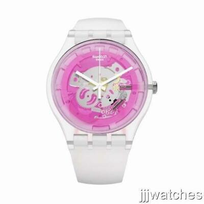 New Swatch Originals PINKMAZING White Silicone Women Watch 41mm SUOK130 $80