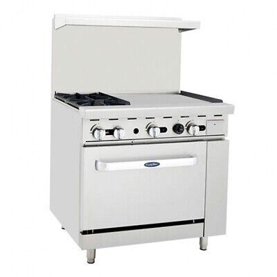 Atosa Usa Agr-2b24gr-lp 36 Gas Restaurant Range 1 Standard Oven 2 Open...