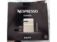 Nespresso Inissia Coffee Machine in White, with Milk Heater and Frothier