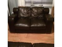 2 x 2 seater couches/sofa/couches/leather/brown/ 2 seater sofa