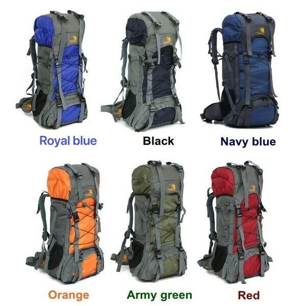 60L Internal Frame Camping Rucksack Waterproof Trekking Hiking Climbing Backpack