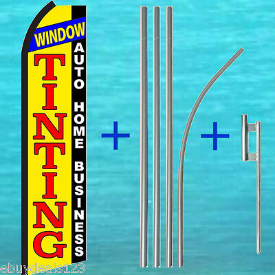 Window Tinting Swooper Flag 15 Tall Pole Mount Kit Flutter Feather Banner Sign