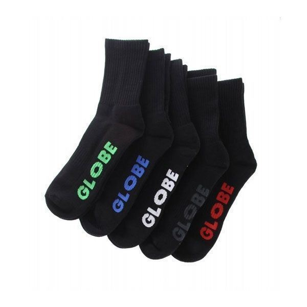 Globe Socks 5 Pack Stealth Crew Black Size 7-11 Skateboard Sox FREE POST