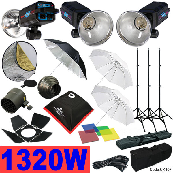 1320W Strobe Studio Flash Light Kit Lighting Photography Set CK107