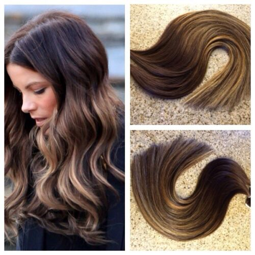 5 Star Remy Sew in Weft Human Hair Extensions Ombre Balayage Custom Color