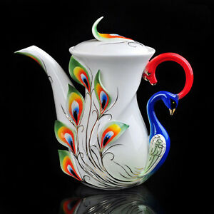Unique Perfect Porcelain Green Peacock 1 Coffee Pot Tea