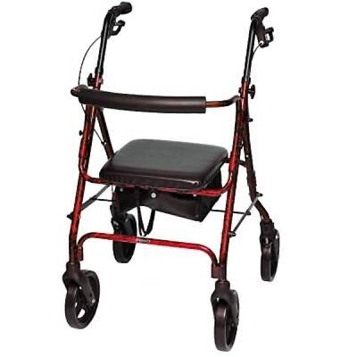 Probasics 4 Four Wheel Rollator Walker with Padded Seat, Red - Height 5'5