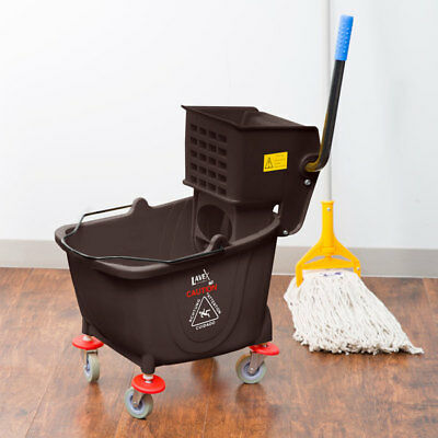 Brown 36 Quart Plastic Mop Bucket With Wheels And Side-press Wringer Combo