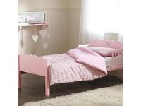 Pink toddler bed with brand new duvet cover set