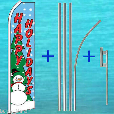 Happy Holidays Flutter Flag Pole Kit Tall Christmas Feather Swooper Banner