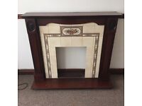 Fireplace surround living room tiled wooden