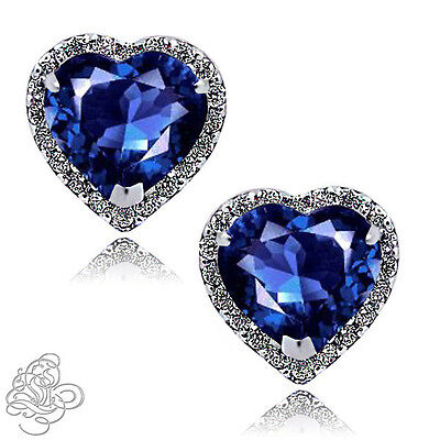 1.89 CT HALO HEART BLUE SAPPHIRE STUD EARRINGS 14K WHITE GOLD COVERED SILVER