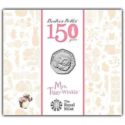 """2016 United Kingdom 50p BU Coin """"Beatrix Potter's Mrs Tiggy Winkle"""" in folder"""