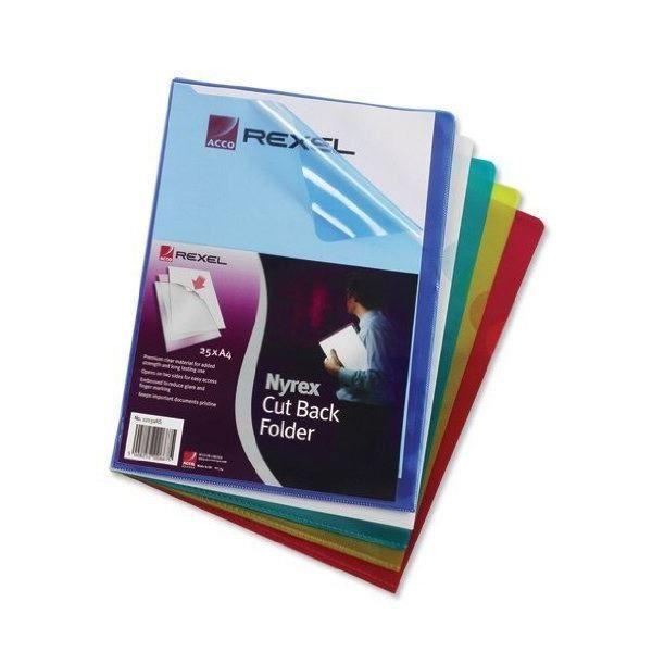 Rexel Nyrex A4 Assorted Cut Flush Folders (Pack of 25) 12161AS [RX12161A]
