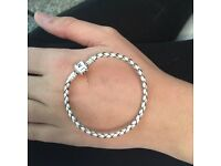 White leather pandora bracelet size small