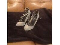new look silver glitter heels