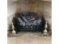 Log and pine cone gas fire complete with brass dogs