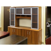 Autumn Maple 4 Door Credenza and Hutch Wall Unit