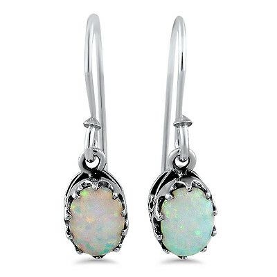 WHITE LAB OPAL ANTIQUE ART DECO DESIGN .925 STERLING SILVER EARRINGS,       #519
