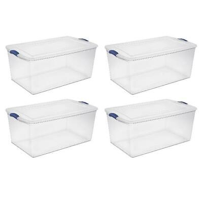Set of 4 Large Storage Containers 105 Quart Clear Plastic To