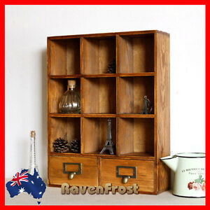 Timber Wall Shelf Mounted Display Cabinet Unit Wooden
