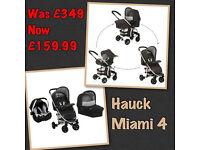 BRAND NEW HAUCK MIAMI 4 FULL TRAVEL SYSTEM PRAM PUSHCHAIR UNISEX BLACK /SILVER CAR SEAT CARRYCOT