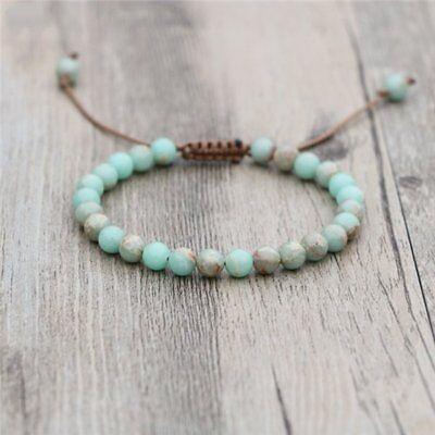 Natural Stone Amazonite Beaded stacking Bracelet Green Cord Stacks Beads