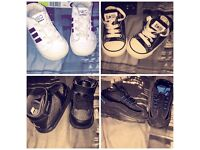 22 pairs of infant size 4-7 trainers (nike, adidas, converse, hunters, lacoste)