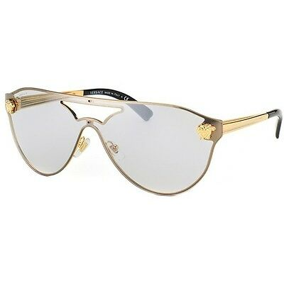 Versace Sunglasses VE 2161 10026G Gold / Light Grey Silver Mirrored 42mm 1002/6G