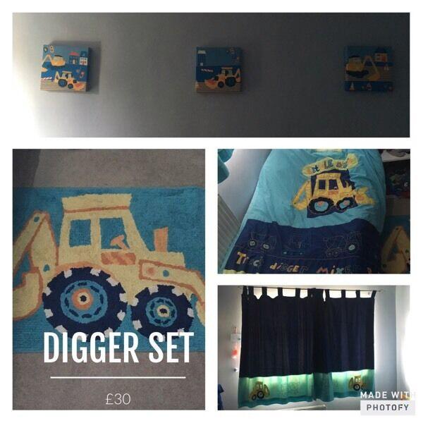 Next digger bedroom set bundle £20