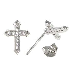 A-punta-croce-crocifisso-Stud-orecchini-Massiccio-925-Sterling-argento-CZ-11