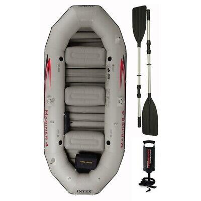 Intex Mariner 4 Man Inflatable Dinghy Tender Boat + Aluminium Oars + Pump #68376