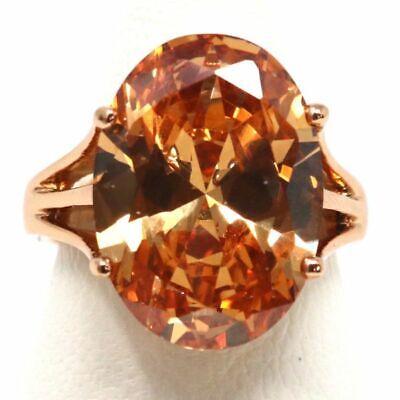 Vintage Hand Carved Orange Citrine Ring Jewelry Gift Size 6 7 8 9 14K Rose Gold ()