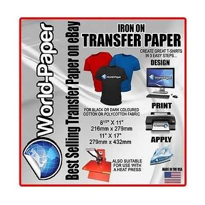 Inkjet Heat Transfer Paper For Dark Garments 10 8.5x11 Made In Usa Not China 1