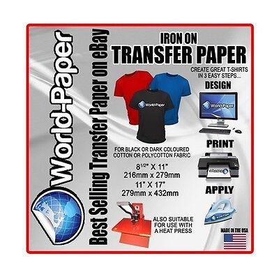 Inkjet Heat Transfer Paper Soft Dark 8.5 X 11 -10 Sheets Bl World-paper Usa 1