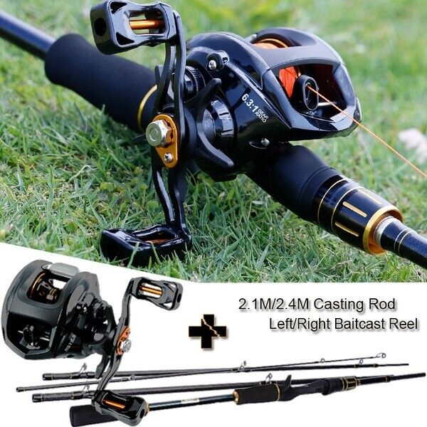 Sougayilang 2.4M 4 Section Baitcasting Rod and 13BB Casting Right Hand Reel