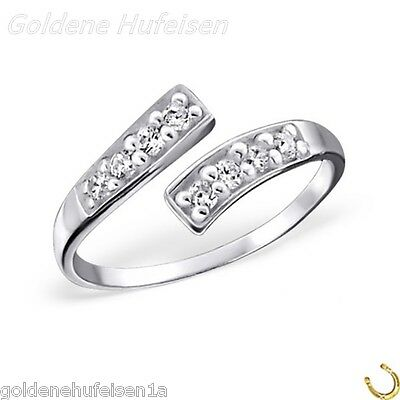 ZEHENRING Kristalle 925 Echt Silber Zehring Damen Mädchen Verstellbar 7322