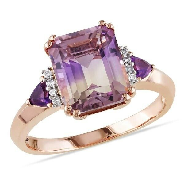 18K Rose Gold Plated Created Pink Emerald CZ Princess Cut Pink Amethyst Elements Fashion Jewelry