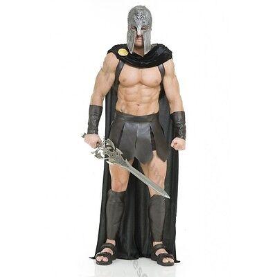 ADULT MENS SPARTAN WARRIOR 300 ROMAN GREEK GLADIATOR COSTUME W/ CAPE GUARD BLACK - Mens Greek Spartan Warrior Costume