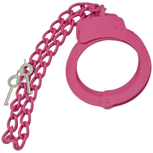 PINK Steel LEG CUFFS Police Double Locking Cuffs Cuff WIth Keys Shackles Slave