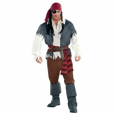 y Pirate Costume Fancy Dress Buccaneer Outfit Plus Size (Mens Plus Size Pirate Kostüm)