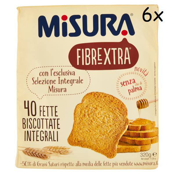 6x Misura Fibraextra Fette Biscottate Vollkorn Zwieback gebackenem Brot 320g