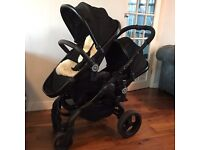 Icandy 3 blossom jet black double pushchair
