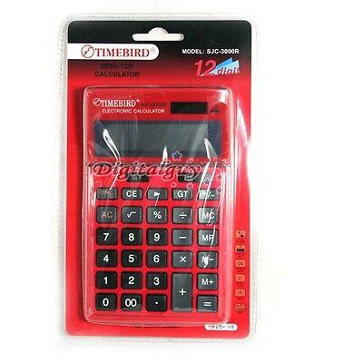 TIMEBIRD SJC-3000R 12-Digit Calculator GT Dual Power Red