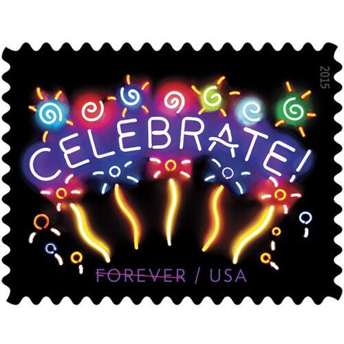 Купить USPS New Neon Celebrate! Forever Stamp sheet of 20