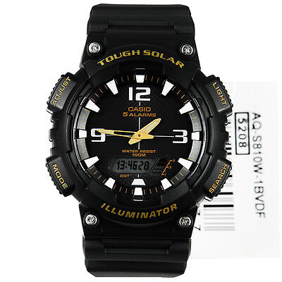 New CASIO AQ-S810W-1A3V Tough Solar World Time LED Resin Watch