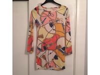 Cream & Pink Tunic Top With Gold Chain Detail - New