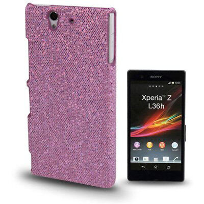 HardCase Schutzhülle Backcover Glitzer Style hell lila für Sony xperia Z Cover Lila Hard Case Cover